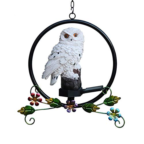 Solar Garden Decorative Lights Outdoor, Beautiful LED Solar Powered Hanging Fairy Landscape Tree Lights, Resin Owl Wrought Iron Lamp for Pathway Patio Yard Deck Walkway Christmas Decoration (White)