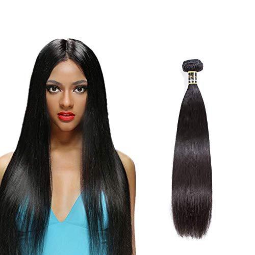 Puddinghair 12 Inch Brazilian Straight Hair Bundle 100% Unprocessed Virgin Human Hair Straight Human Hair Weave Bundle Natural Color Hair Bundle 100g (12' Single Bundle)