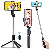 ATUMTEK Palo Selfie Trípode con Bluetooth, 3 en 1 Selfie Stick Extensible hasta 1 m con Mando a Distancia Inalámbrico, 270° Rotación para iPhone 12/11/X/XS/8/7, Samsung Galaxy S10/S9, Xiaomi, Negro