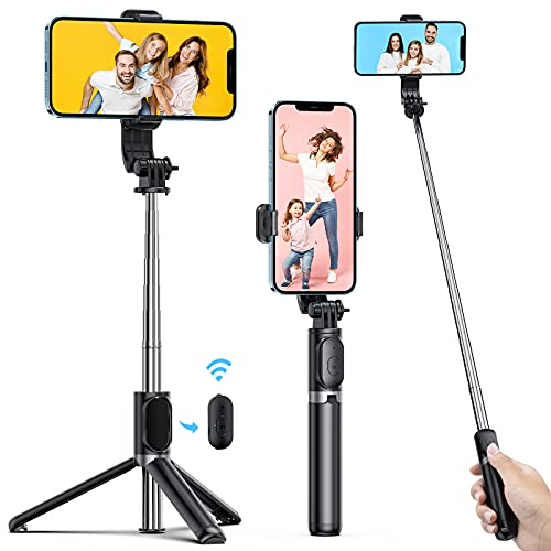 ATUMTEK Palo Selfie Trípode con Bluetooth, 3 en 1 Selfie Stick Extensible hasta 103 cm con Mando a Distancia Inalámbrico, 270° Rotación para iPhone 12/11/X/XS/8/7, Samsung Galaxy S10/S9, Xiaom