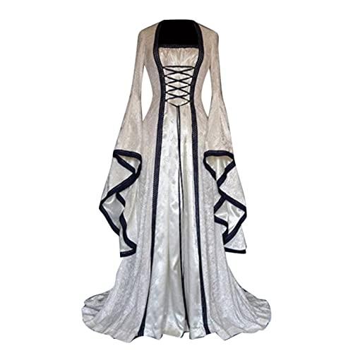 BIBOKAOKE Damen Mittelalterliche Kleid mit Trompetenärmel Mittelalter Party Kostüm Maxikleid Lange Ärmel Renaissance-Kleid Halloween Cosplay Party Ballkleid Abendkleider Bodenlangen Kleid