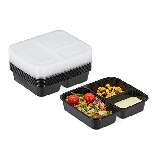 Relaxdays Meal Prep Boxen, 10-delige set, 3 vakken, 1000 ml, magnetronbestendig, kunststof voedselbox met deksel, zwart