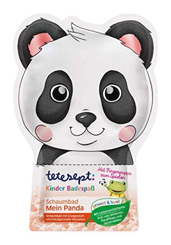 """tetesept Kinder Badespaß Schaumbad \""""Mein Panda\"""" – Pflegender Badezusatz mit fruchtigem Orangenduft für Kinder - inkl. Fingerpuppe – 1 x 40 ml"""