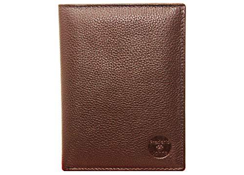 Frédéric & Johns® - Portafoglio in vera pelle di vacchetta molto pratica -Portadocumenti da viaggio in pelle porta passaporto - 22 scomparti per carte - uomo o donna (Cioccolato)