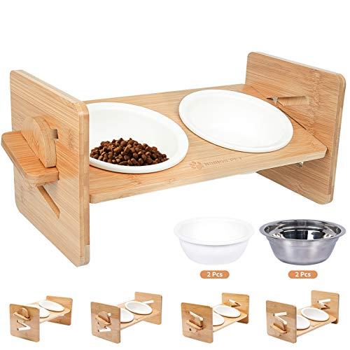BINGBING Raised Pet Bowl for Cats and Small Dogs, Adjustable Elevated Dog Cat Food and Water Bowl Stand Feeder with Extra Stainless Steel Bowls (Medium)
