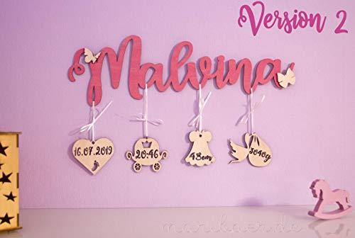 Namensschild aus Holz mit Geburtsdaten, verschiedene Ausführungen, personalisiert. Bestes Geschenk zu der Geburt und Geburtstag
