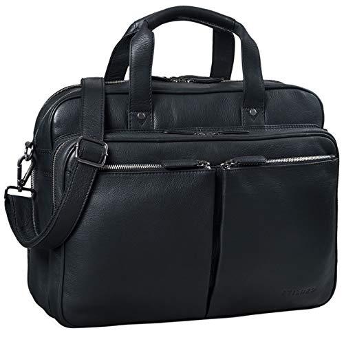 STILORD 'Remus' Ledertasche Umhängetasche Leder Aktentasche Groß 15,6 Zoll Laptoptasche Abnehmbarer Schultergurt Lehrertasche, Farbe:schwarz