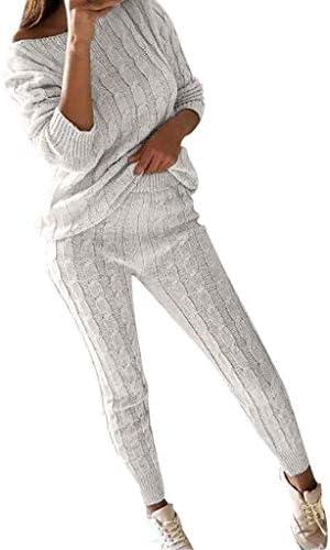 Dames Tweedelige Set Outfits Leisure Pak Sport Pak Mode Basic Gebreide Jogging Pak Schouder Lange Mouw Hot Pakket Hip Broek Trainingspak Set Loungewear Pak Set
