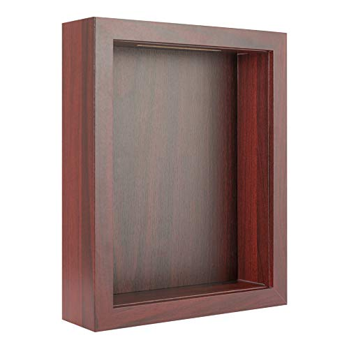 8x10 Shadow Box Display Case for Memorabilia, Pins, Awards, Medals, Tickets and Photos - Wood Shadow Box Frame (1, Red with Top Slot)