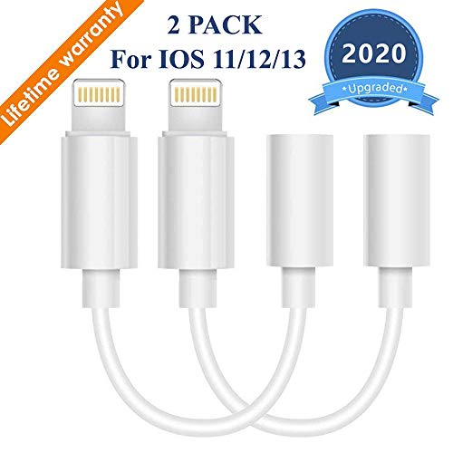 Lighting to 3.5 mm Headphone Adapter Earphone Earbuds Adapter Jack 2 Pack,Easy to Use,Compatible with Apple iPhone 11 Pro Max X//XS//Max//XR 7//8//8 Plus Plug and Play Telescope Cases