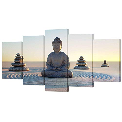 VVOVV Wall Decor - Buddha Canvas Wall Art Poster Paintings Giclee Prints White Sand Zen Stone Pictures Home Decor Modern Zen Picture Poster Canvas Contemporary Giclee Print Artwork Ready To Hang