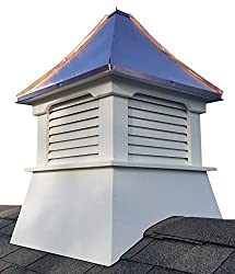 A vinyl cupolas with a copper roof