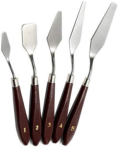 5 pièces couteaux à peindre en acier inoxydable Spatule couteau à palette Peinture à l'huile Accessoires de mélange de couleur pour l'huile, acrylique sur toile, Painting