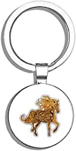 Glover Trading Horse Zentangle Pattern Round Stainless Steel Metal Key Chain Keychain Ring Double Sided Deisgn