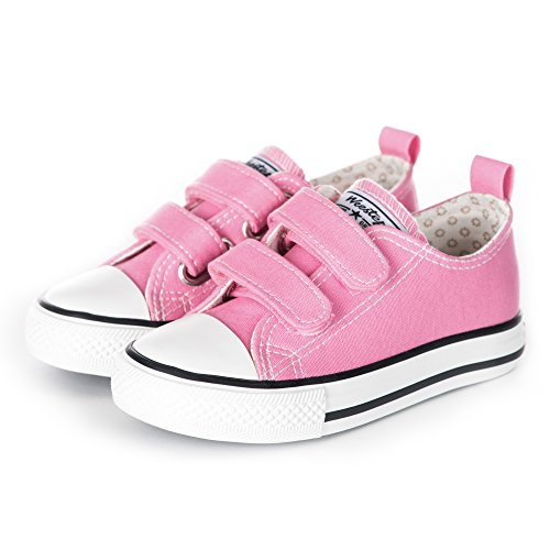 Weestep Toddler Little Kid Boy and Girl Classic Adjustable Strap Sneaker(7 Toddler, Hot Pink)