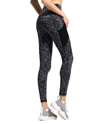 QUEENIEKE Women Yoga Leggings Mesh Mid-Waist 3 Phone Pocket Gym Running Tights Size XL Color White Space Dye Side Pockets