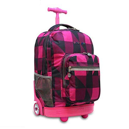 QCC& Multifunktion Wasserdicht Fahrbar Rollen Gepäck Rucksack Zum Jungen Mädchen Jugendliche Schulreise Trolley Schultaschen 18,11 * 18,66 * 13,38 Zoll,E