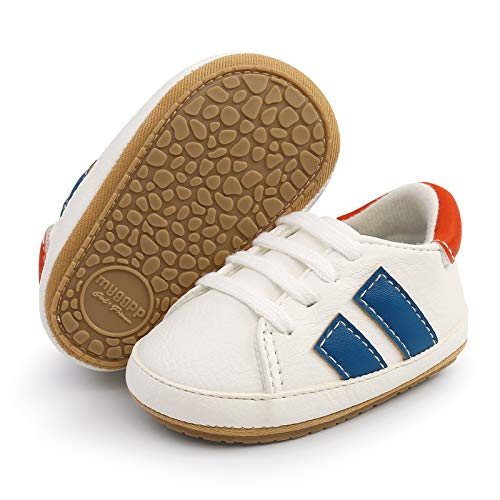 RVROVIC Baby Boys Girls Sneakers Anti-Slip Oxford Loafer Flats Infant Toddler PU Leather Soft Sole Baby Shoes(6-12 Months,Infant,0-White&Blue)