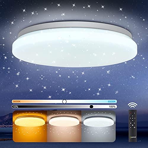 LED Deckenlampe Dimmbar, OPPEARL 40W 3700LM Sternenhimmel LED Deckenleuchte Dimmbar mit Fernbedinung für Kinderzimmer Wohnzimmer Schlafzimmer Büro Esszimmer Küche Rund 3000K-6500K