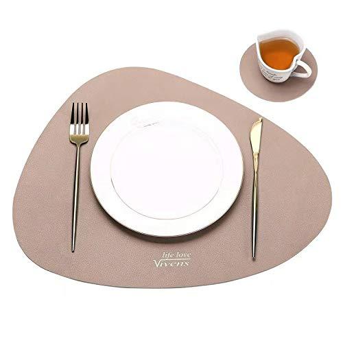 VIVENS Platzset, PU-Leder-Tischsets und Untersetzer 2er-Set, wärmedämmend, schmutzabweisend, rutschfest, Tischset wasserdicht, waschbar, Bunte Tischsets (Rosa)