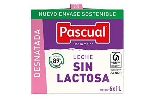 Pascual Leche sin Lactosa Desnatada, Pack de 6 x 1000ml