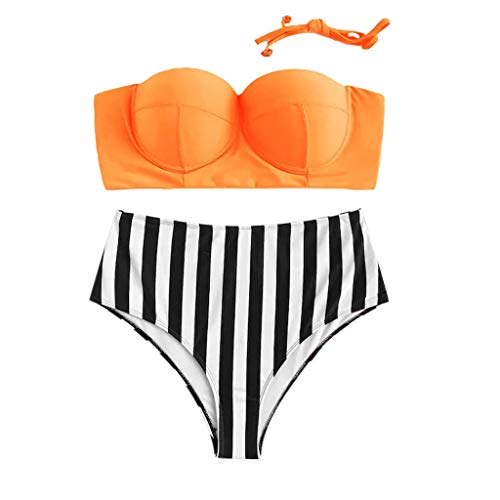 ZZXIAN Badpak dames grote maat retro badmode hoge taille vrouwen zwemkleding voor dames Tankini sexy bikini dames set push up paded beha Beachwear print strepen