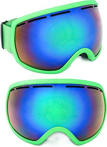 Skibril gespiegeld Aspen 2018 unisex voor dames en heren met groot gezichtsveld/krasbestendige glazen/inclusief beschermzakje en EVA box/etui/one size/antifog/dubbel glas/incl. microvezeltas/brildragers/EVA box/hardcase/brillenkoker