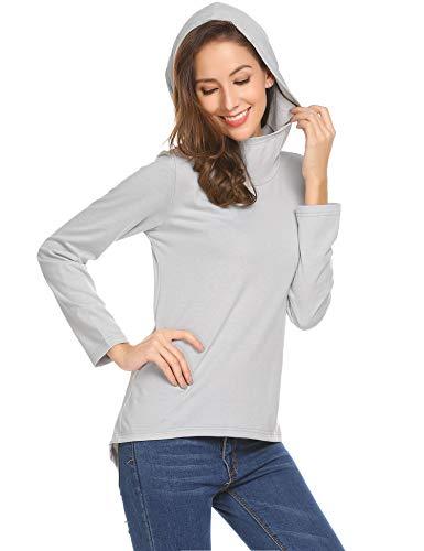 Beyove - Felpa da donna con cappuccio, casual, con tasca a marsupio, in cotone, a maniche lunghe, per autunno e inverno grigio chiaro S