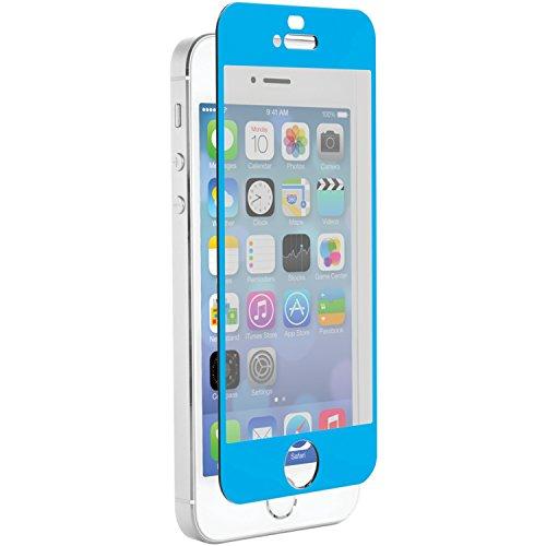 Znitro Glas Displayschutzfolie für Apple iPhone 5/5S/5C–Retail Verpackung–Soft Blue Lünette