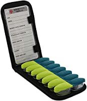 Lewis N. Clark Magnetic Folding Pill Organizer Supplement Case for OTC Medicine, Prescription Vitamins - 14 Slots,...