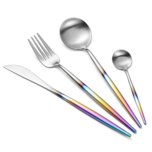 4 Piece Cutlery Set, Stainless Steel Flatware Set with Matte Coloured...