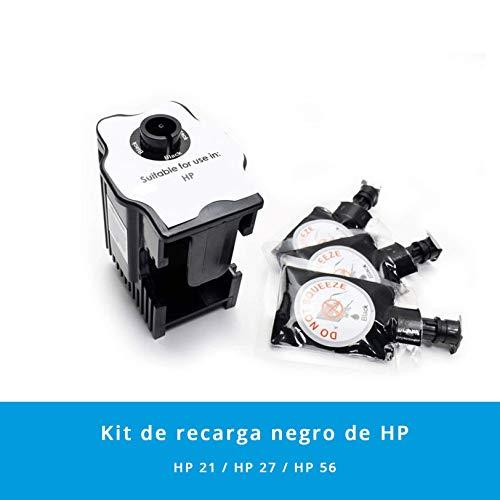 Kit de Recarga para Impresoras HP 21/27 / 56 · Incluye 1 Estación de Recarga + 3 Recargas de Color Negro (3 x 6 ml)