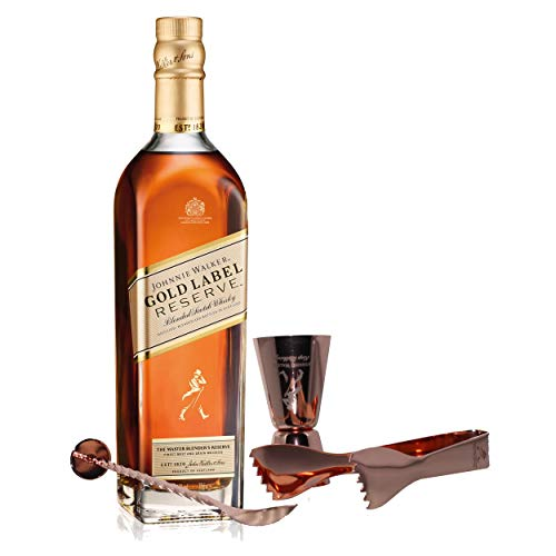 Johnnie Walker Gold Label Reserve Set mit Bar Besteck, Blended Whisky, Scotch, Alkohol, Flasche, 40%, 700 ml