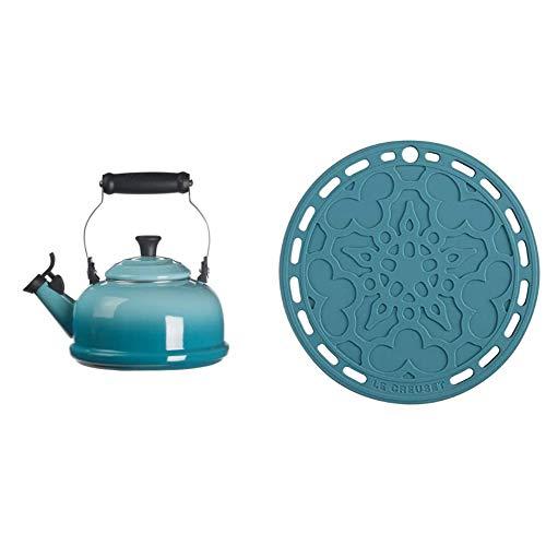"Le Creuset Enamel On Steel Whistling Tea Kettle, 1.7 qt, Caribbean & Silicone French Trivet, 8"", Caribbean"