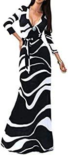 And White V Neck Long Dress Medium L51208-1