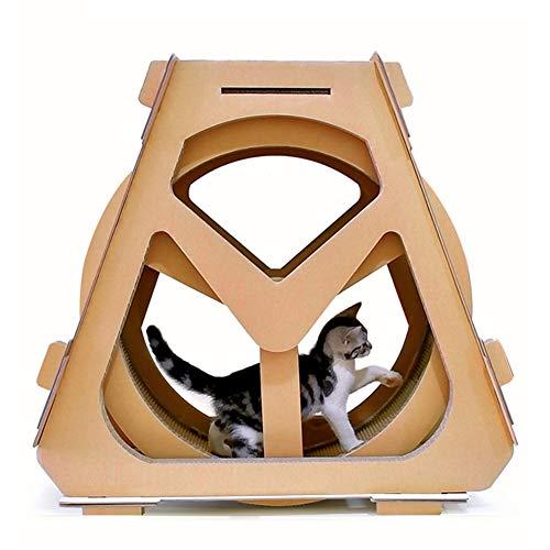 WLDOCA Drehbare Kratzbaum Katze Klettern Springen Rahmen Kätzchen Spielzeug Aktivität Center Scratcher Bett Haus,L