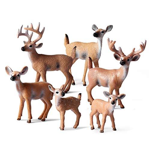 Viesky 6 figuras de animales del bosque de ciervos falsos adornos para tartas de cumpleaños