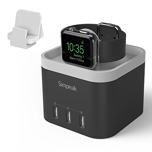 Simpeak 4 Port USB Charger Station Dock for Apple Watch 6 SE 5 4 3 2 1 [Nightstand Mode], Multiple Port Desktop Charging Station Compatible with iWatch Phone Tablet, with Phone Charger Holder, Black