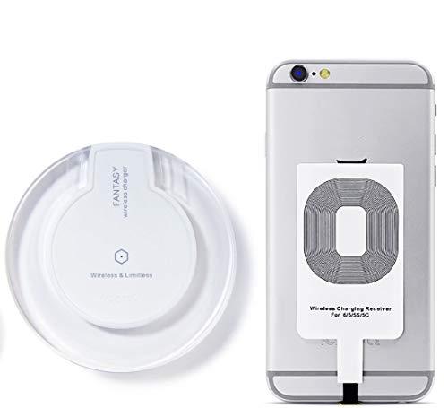 Cargador Inalámbrico, Almohadilla de Carga Inalámbrica y Receptor para iPhone7 Plus 7 6 Plus 5s 5c, Compatible con Samsung Galaxy S7 S6 edge, Nexus 4/5/6 y todos los Dispositivos Habilitados para Qi