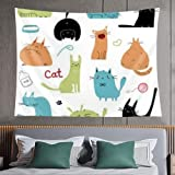 Tapiz de pared,cute cats set design presentation,tapiz para colgar en la pared para dormitorio estético como arte de pared y decoración del hogar para el hogar y al aire libre 60*40inch