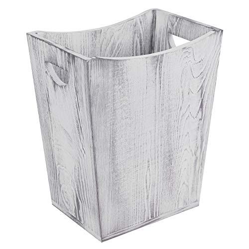 Rustikaler Mülleimer ohne Deckel, Abfalleimer für Küche Büro, Papierkorb für Kinder aus Holz eckig Waste Basket für Kitchen, Einfach grau