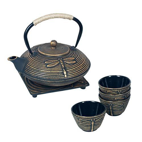 Vidal Regalos Set Tetera con 4 Vasos y Sobremantel Hierro Fundido Oriental Etnico Libelula 19 cm