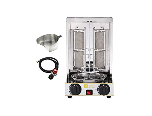 Royali Shawarma Gyro Tacos Al Pastor Doner Kebab Grill Small Machine Vertical Rotisserie Set of 3 Machine Meat Catcher and Propane Hose with Regulator