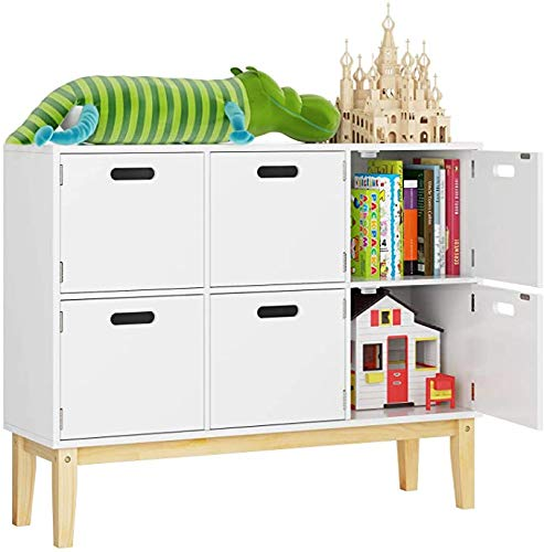 HOMECHO Storage Cabinet with Door, Floor Accent Cabinet, Wood Children Bookcase for Home Office, 39.3″L x 11.8″W x 31.5″H, Ivory White