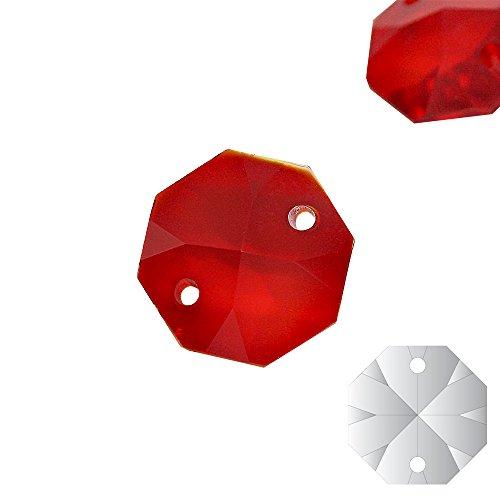 Christoph Palme 10x kristallen koppen rood 14mm 2-gaats Ruby Octagon gekleurde achthoek stenenkristallen behang voor kroonluchter en om te knutselen