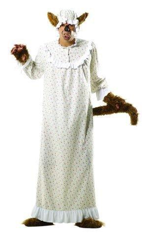 Foxxeo Böser Wolf Kostüm Oma Großmutter für Erwachsene Damen und Herren Tierkostüm Overall Jumpsuit Größe M-L