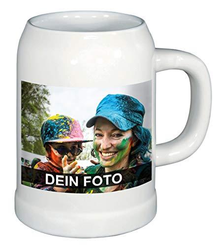 Bierkrug mit eigenem Foto selbst gestalten (Humpen aus Keramik, mit personalisierbarem Foto, spülmaschinenfest, individuell gestalten, ideal als Fotogeschenk), weiß