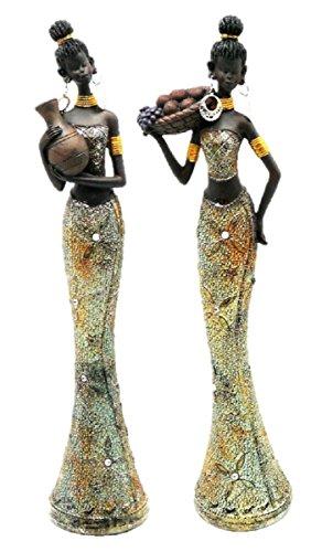 Geschenkestadl 2 Afrikanerinnen Frauen Figuren je 36 cm x 11 cm
