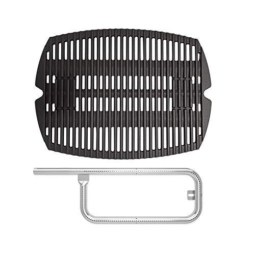 SafBbcue 7644/7582 Cast Iron Grate and 60040 Grill Burner Compatible We-BER Q100, Q120, Q1000, Q1200, Baby Q, 386001, 386002, 516002, 516001, 50060001, 5106000 Grills