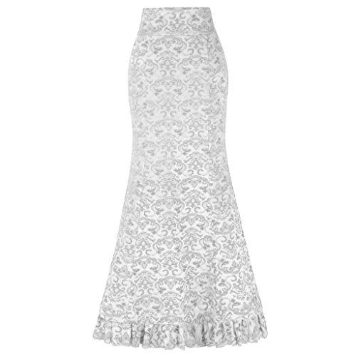 Vectry Faldas Poque Mujer Falda Larga Vintage De Cintura Alta Taile Volantes